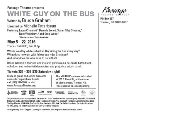 White Guy on the Bus postcard back