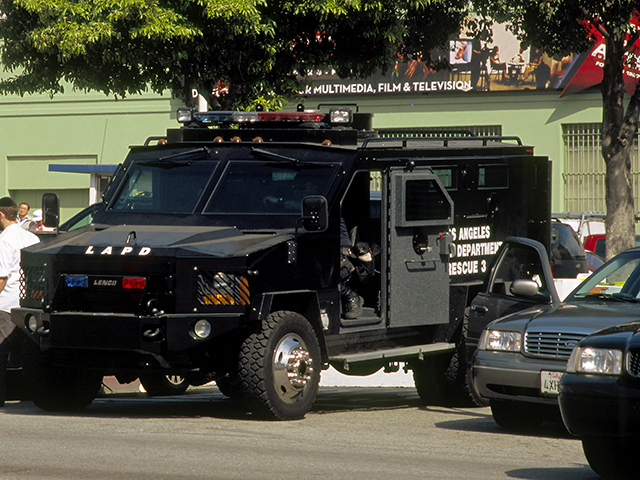The Los Angeles Police Department guarding Highland Avenue, Hollywood, during the Academy Awards festivities