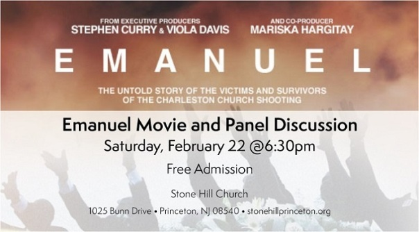 An image describing the timing of the free screening of Emanuel at the Stone Hill Church on Saturday, February 22nd